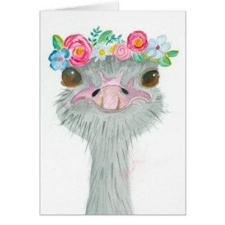 Cartão de nota da avestruz do primeiro de Maio