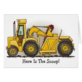 Cartão de nota da construção do escavador