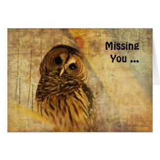 Cartão de nota da coruja - faltando o