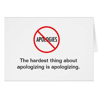 Cartão de nota da desculpa