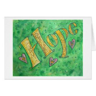 Cartão de nota da esperança