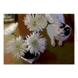cartão de nota da felicidade do gato do crisântemo