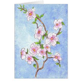 Cartão de nota da flor de cerejeira