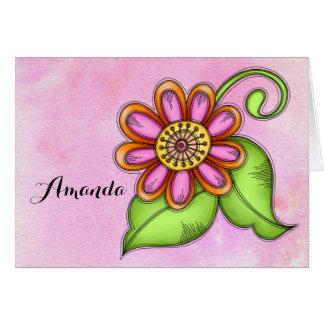 Cartão de nota da flor do Doodle da aguarela da
