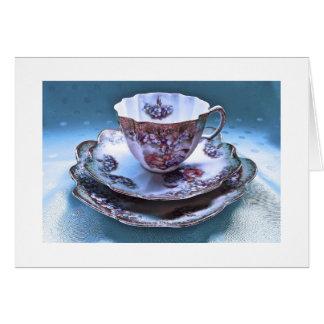 Cartão de nota da fotografia do copo de chá do
