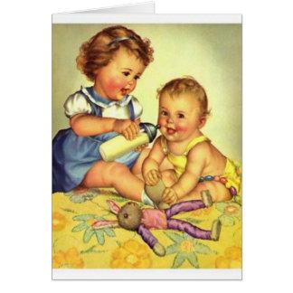 Cartão de nota da irmã do bebê da irmã mais velha