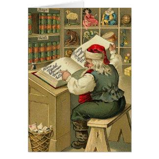 Cartão de nota da lista do Natal do papai noel do