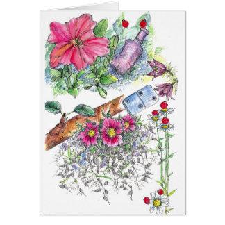 Cartão de nota da natureza do dominó das flores