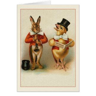 Cartão de nota da páscoa do coelho e do pintinho