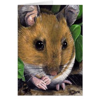 Cartão de nota da pintura do rato de madeira