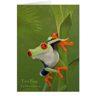 Cartão de nota da pintura do sapo de árvore