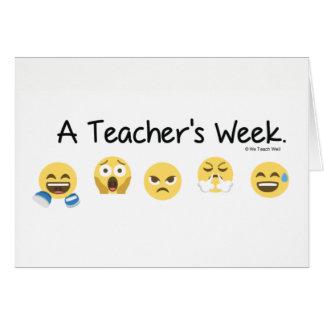 Cartão de nota da semana de um professor
