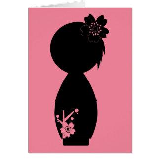 Cartão de nota da silhueta de Kokeshi Sakura