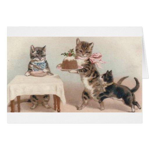 Cartão de nota da sobremesa do Natal do gato e do