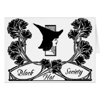 Cartão de nota da sociedade do chapéu negro do