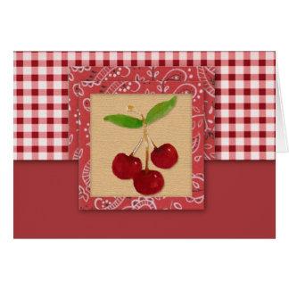 Cartão de nota das cerejas do país