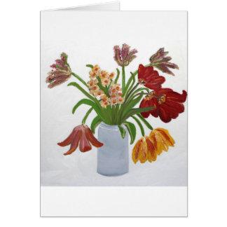 Cartão de nota das tulipas do aniversário