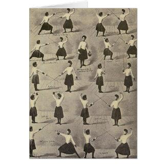 Cartão de nota de cerco fêmea das posições do