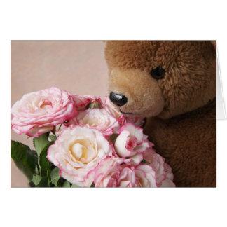 cartão de nota de cheiro dos rosas do urso