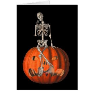 Cartão de nota de esqueleto do Dia das Bruxas da