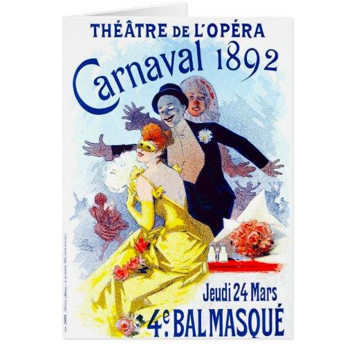 Cartão de nota de Jules Cheret Carnaval