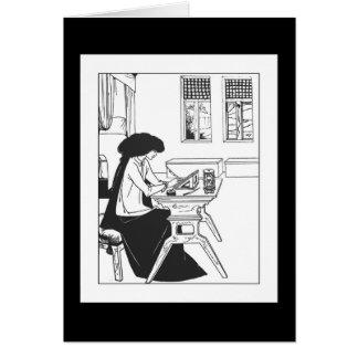 Cartão de nota de Nouveau da arte de Beardsley