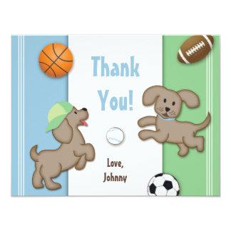 Cartão de nota desportivo azul e verde bonito do convite personalizados
