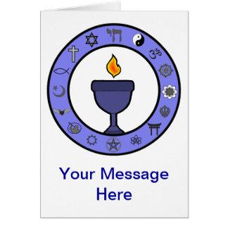 Cartão de nota do cálice UU das religiões do mundo
