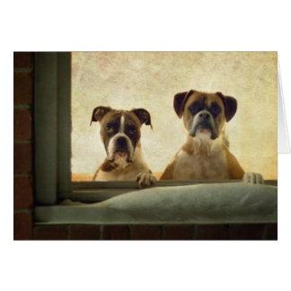 Cartão de nota do cão do pugilista - Natal ou