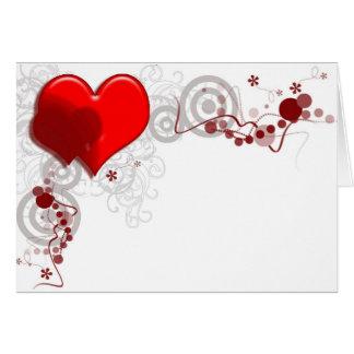 Cartão de nota do fundo do coração