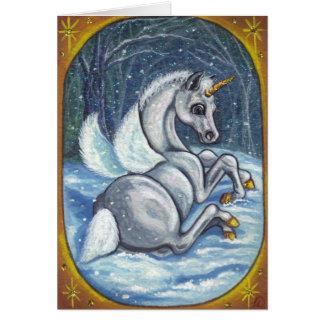Cartão de nota do inverno do POTRO de PEGASUS do