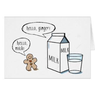 Cartão de nota do leite & do gengibre