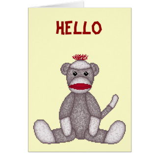 Cartão de nota do macaco da peúga de Lura