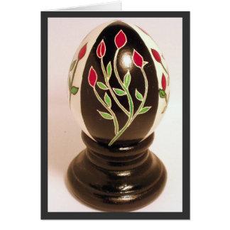 Cartão de nota do ovo de Pysanka do Rosebud -