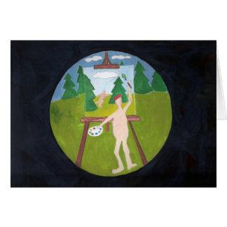 cartão de nota do pintor do nudista