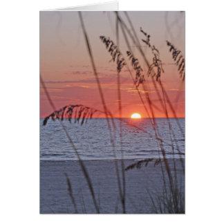 Cartão de nota do por do sol da ilha do tesouro