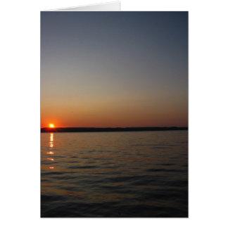Cartão de nota do por do sol do lago Seneca