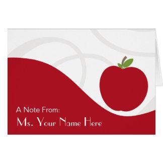 Cartão de nota do professor - Apple vermelho