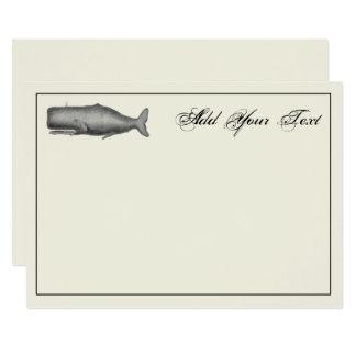 Cartão de nota do século XIX do desenho da baleia
