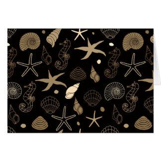 Cartão de nota do Sepia da vida marinha
