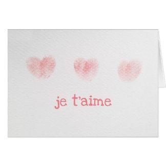 Cartão de nota do t'aime de Je, francês eu te amo
