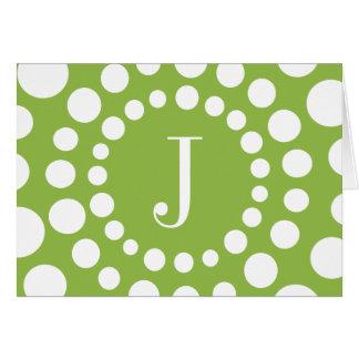 Cartão de nota do vazio do verde do monograma