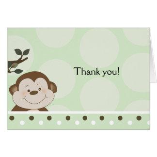 Cartão de nota dobrado verde do macaco do bebê