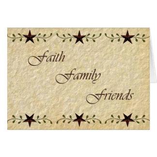 Cartão de nota dos amigos da família da fé