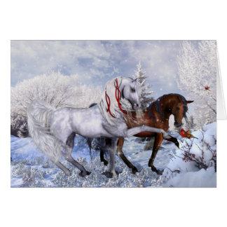 Cartão de nota dos cavalos do inverno do Natal