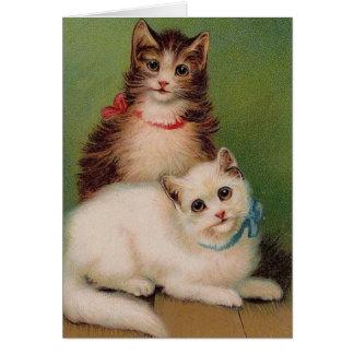 Cartão de nota dos gatos do vintage