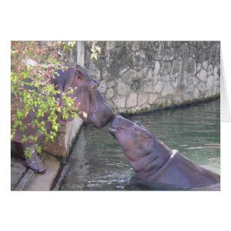 Cartão de nota dos hipopótamos da mãe e do bebê