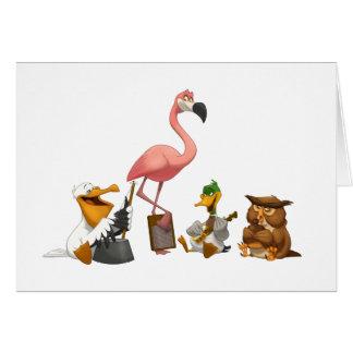 Cartão de nota dos pássaros de O da banda de jarro