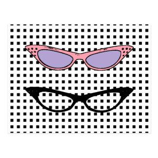 cartão de nota dos vidros do olho de 1950 gatos