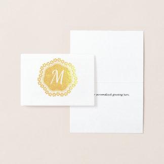 Cartão de nota elegante do monograma da folha de